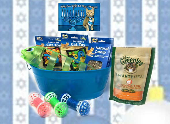 Cat'S Meow Chanukah Cat Treats, Toys with Bucket Meow