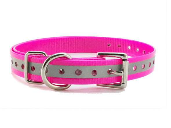 E - Collar & GPS 1 Inch Universal Strap Pink Reflective Glow Strip Square Strap