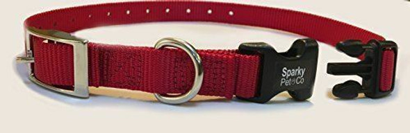 "Sparky Pet Co E-Collar Compatible 3/4"" Nylon Mini Double Buckle Quick Snap Replacement Strap"