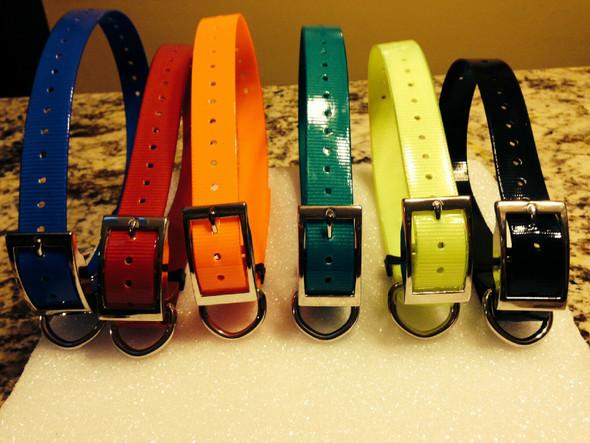 1 Pak 1 Inch Collar, Sq Buckle, Green- Black- Red Sport Dog Collars