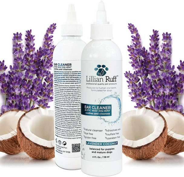 Lillian Ruff Ear Cleaner & Otic Wax Solvent Lavender Coconut 4 oz Free Poop Bags