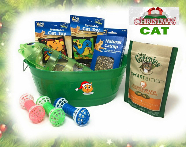 Cat'S Meow Christmas  Cat Treats, Toys with Bucket Meow