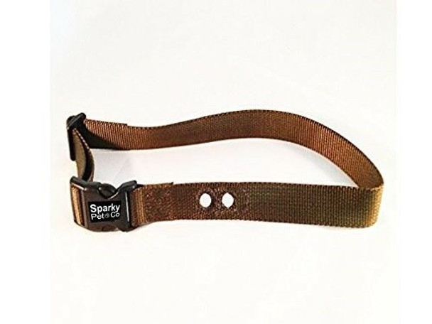 "Sparky Pet Co Bark Brown Heavy Duty 1"" 2 Hole 1.25"" Nylon Receiver Strap"