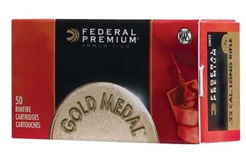 Federal .22LR Ammunition 50 Rounds, Gold Medal LRN, 40 Grains