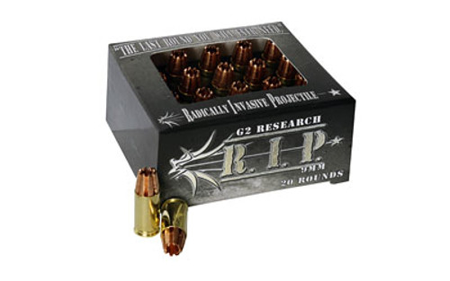 G2 Research RIP Out Ammunition, 9mm Luger, 92 Grain, 20 Rounds, HP