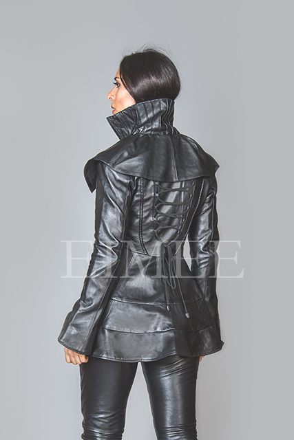 Black Leather Burlesque Victorian Beauty Jacket Military ESTA image 2