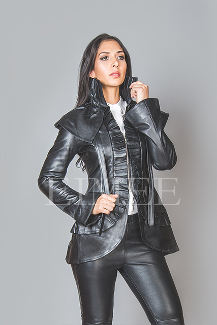 Black Leather Burlesque Victorian Beauty Jacket Military ESTA image 3