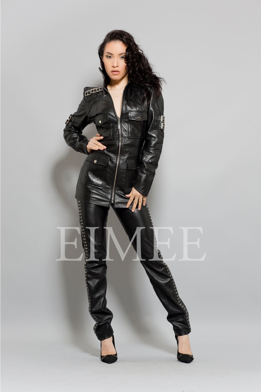 Black Leather Top Jacket Sexy Skin Tight michkeegan front