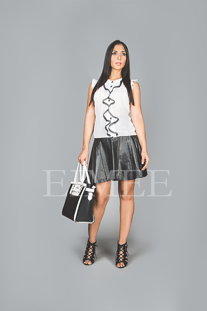 Black Leather Skirt A Line High Waisted SlEENA front