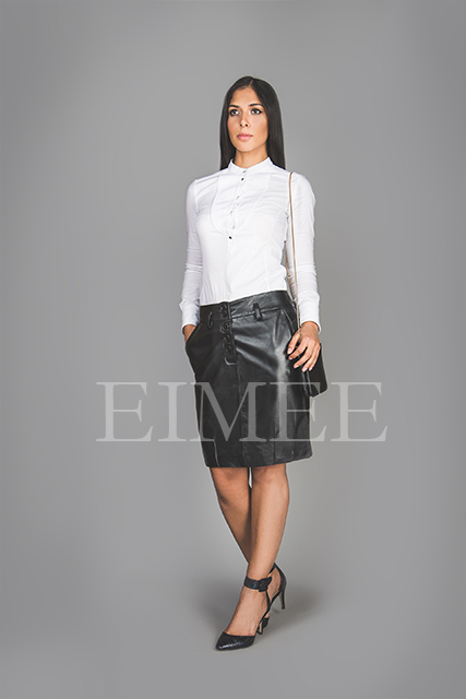 Black Leather Office Skirt Tight Fit Goat Nappa AMY front