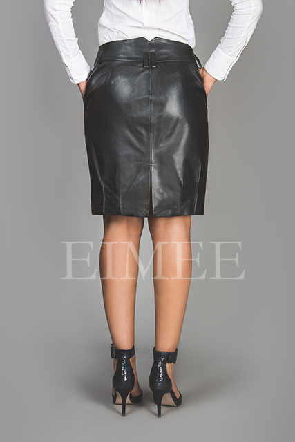 Black Leather Office Skirt Tight Fit Goat Nappa AMY back