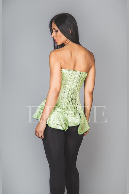 Corseted Skirt Green Brocade SHENI back