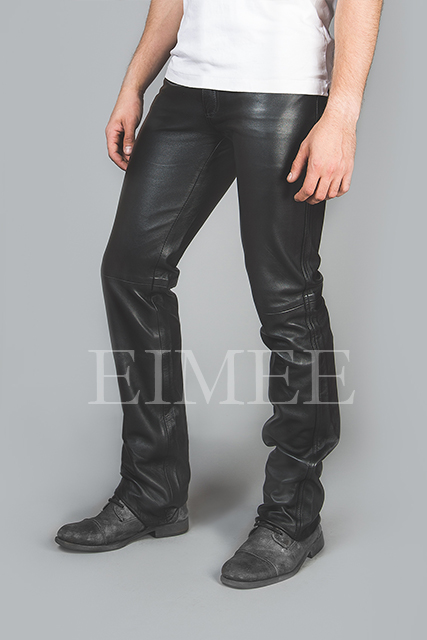 Full Grain Leather Jeans Trousers five pockets TRIS side view zoom
