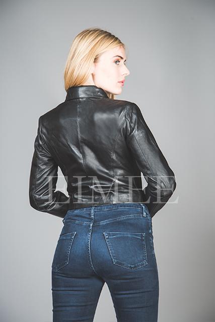 Full Grain Leather Short jacket KATRINA back