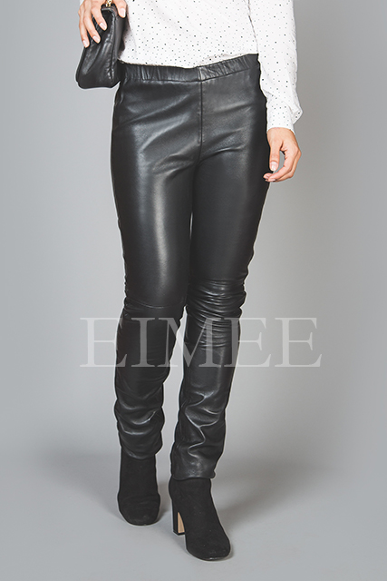 Full Grain Skinny Leather Leggings Skinny Fit JAQUELIN front detail