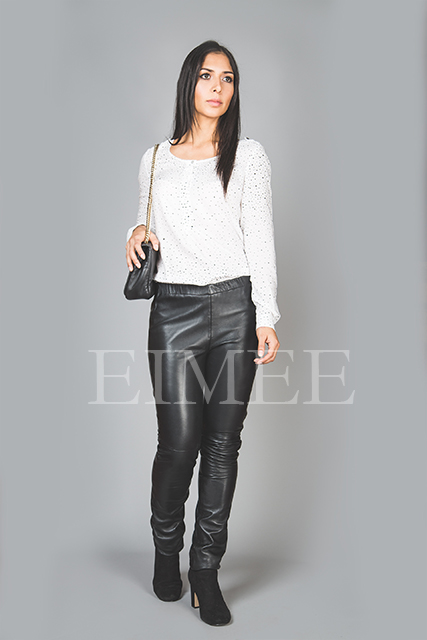 Full Grain Skinny Leather Leggings Skinny Fit JAQUELIN front