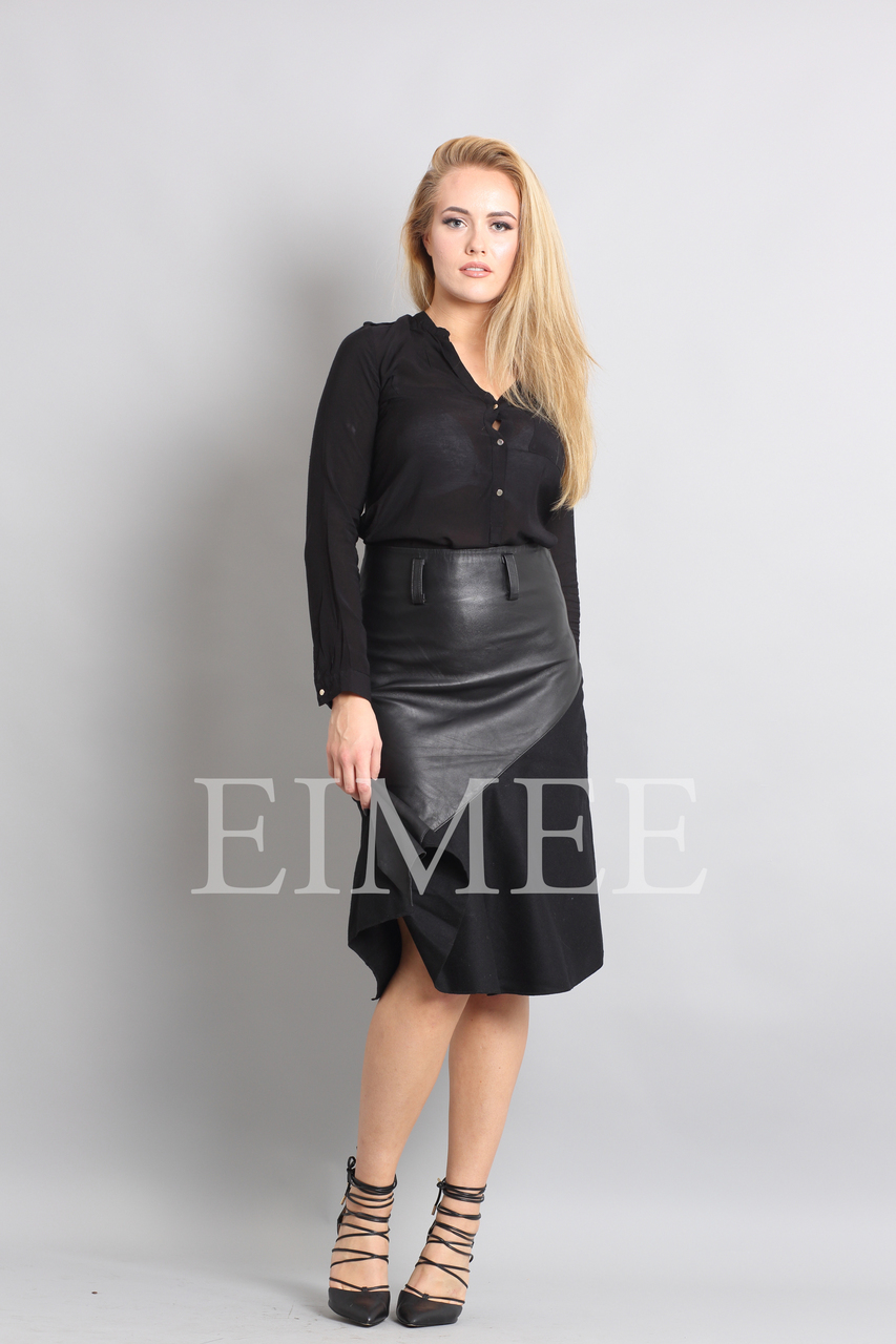 Gorgeous Real Leather Skirt With Wool Panels LEENI  side