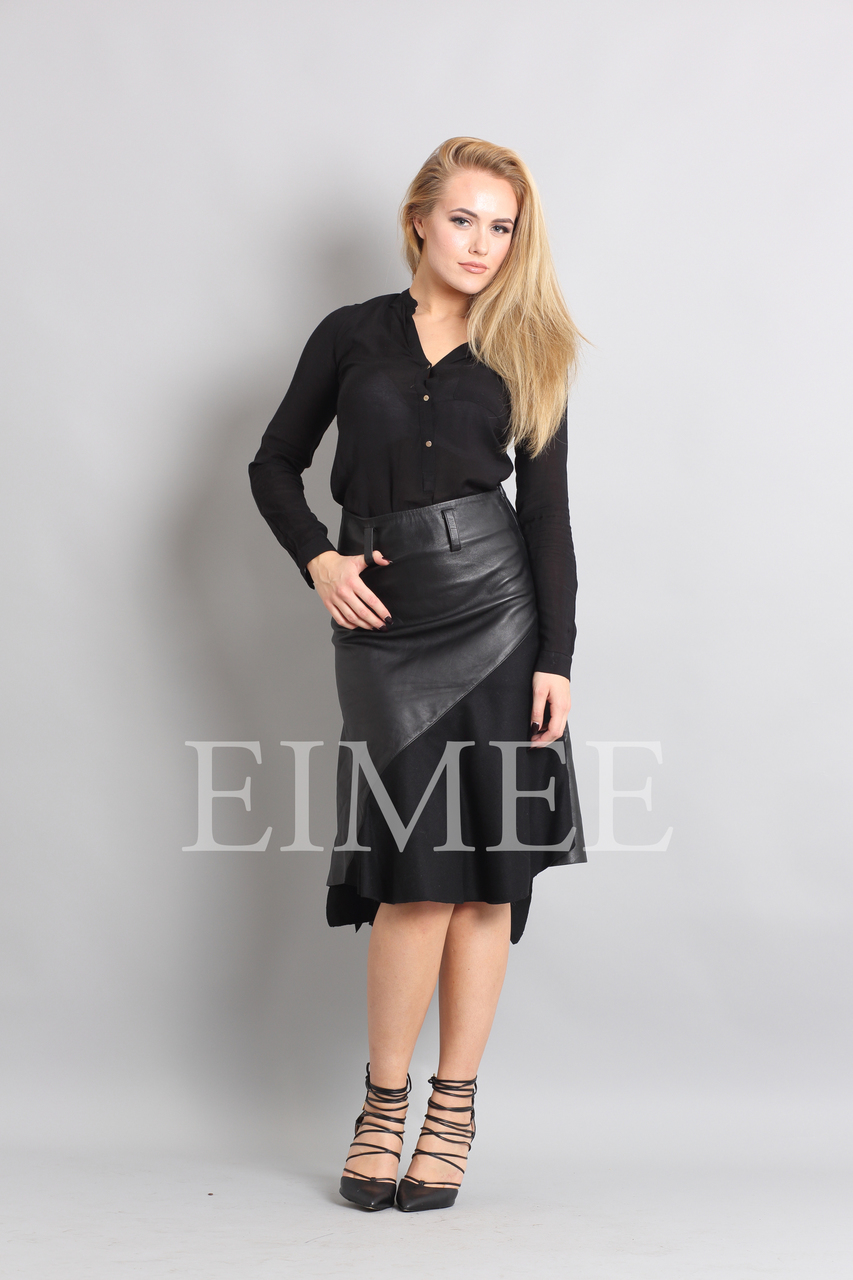 Gorgeous Real Leather Skirt With Wool Panels LEENI  front image 2
