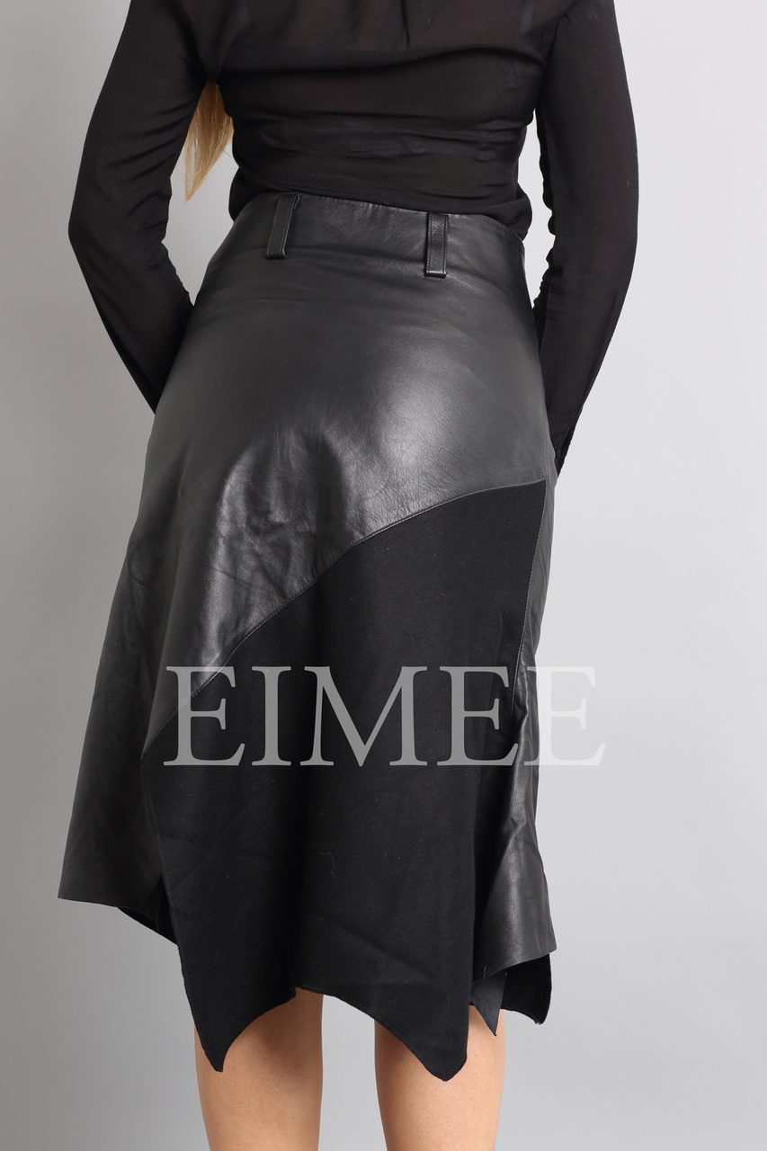 Gorgeous Real Leather Skirt With Wool Panels LEENI  back detail