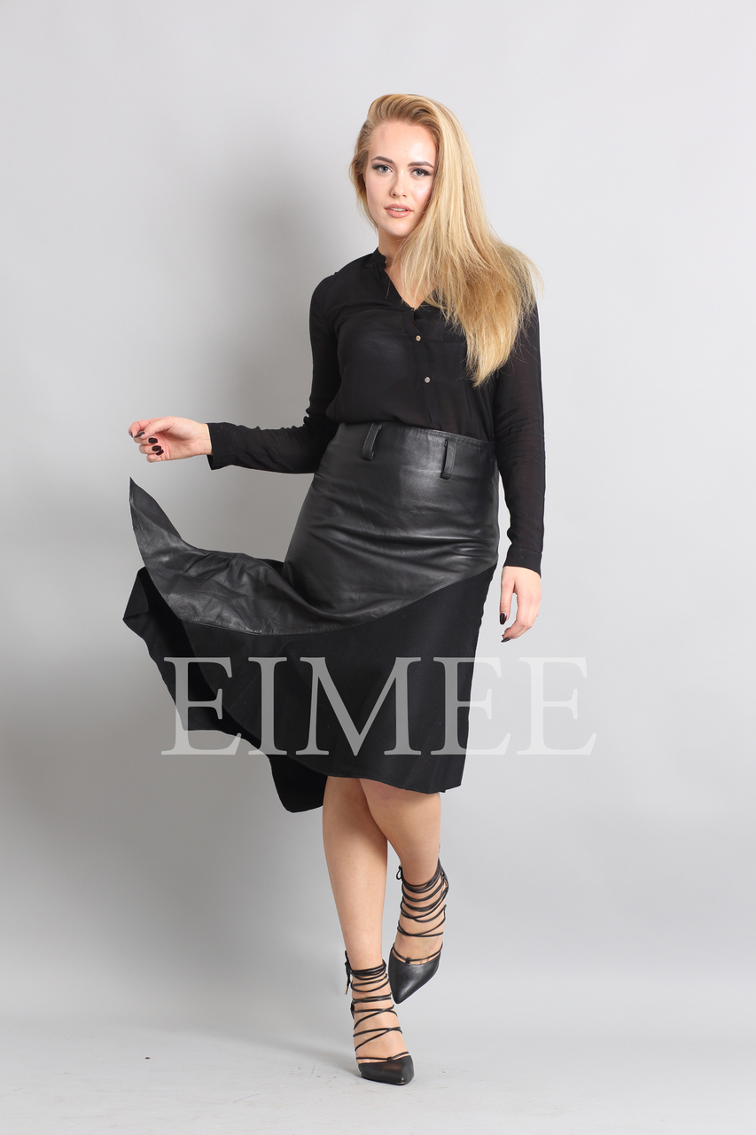 Gorgeous Real Leather Skirt With Wool Panels LEENI  front