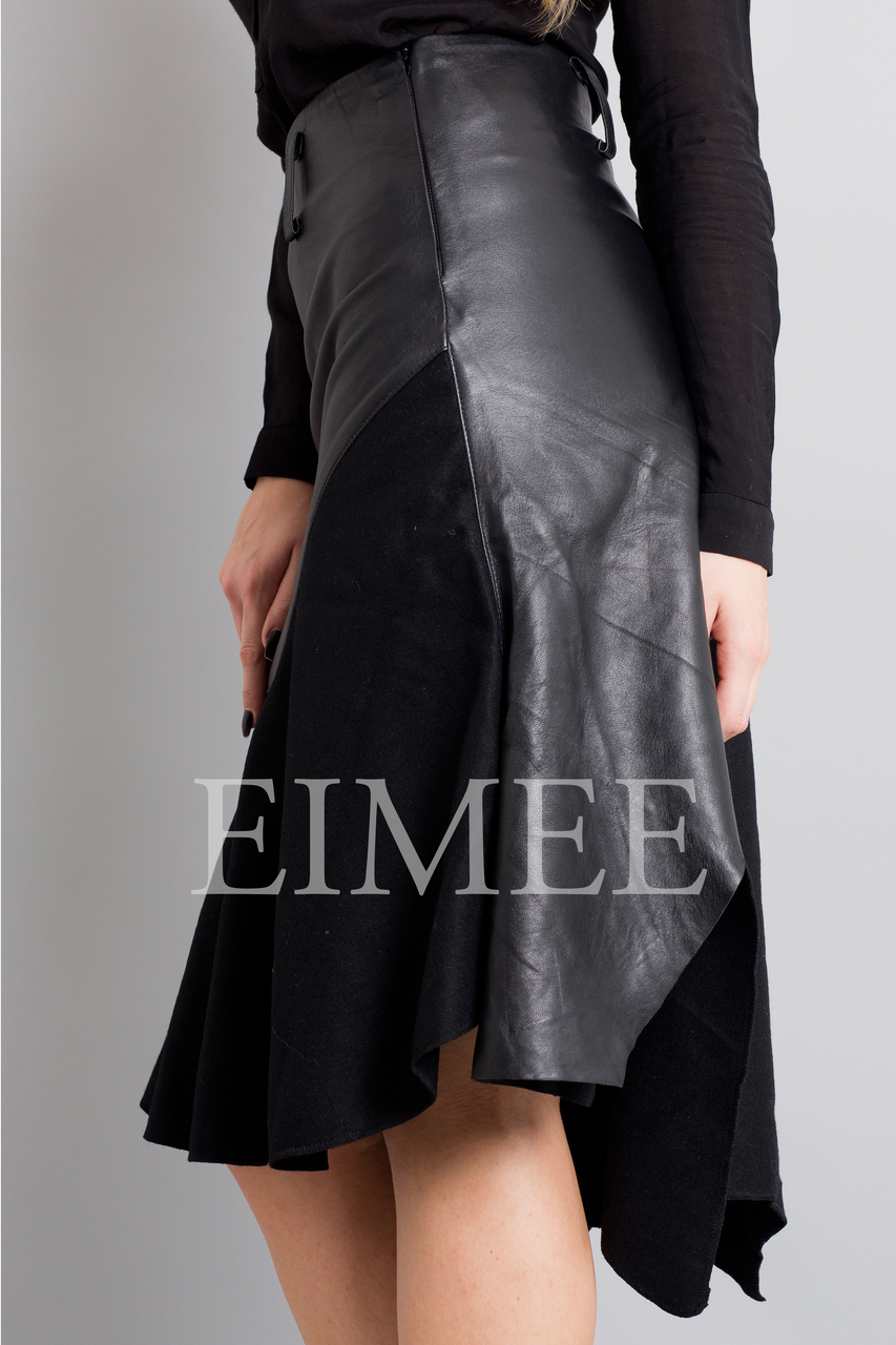 Gorgeous Real Leather Skirt With Wool Panels LEENI side detail