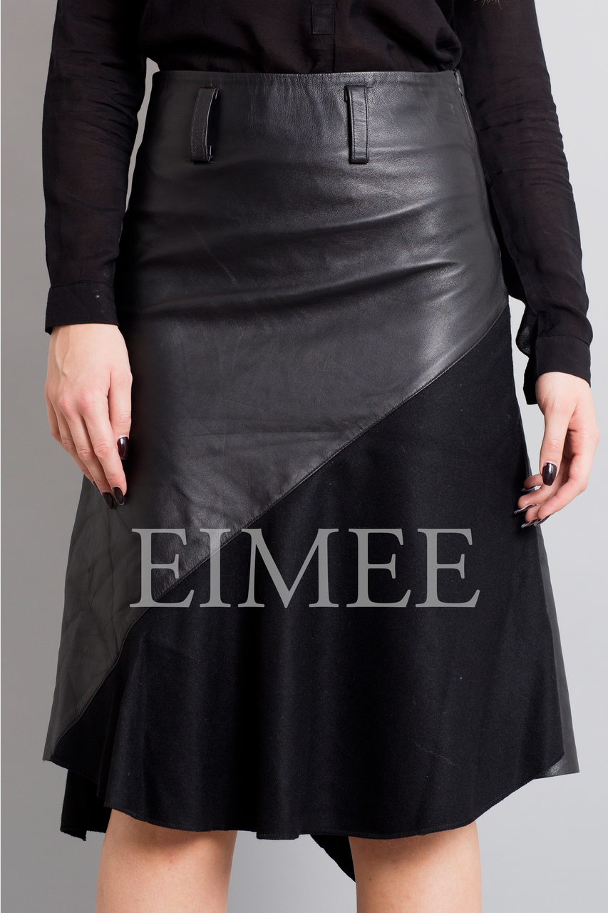 Gorgeous Real Leather Skirt With Wool Panels LEENI front detail