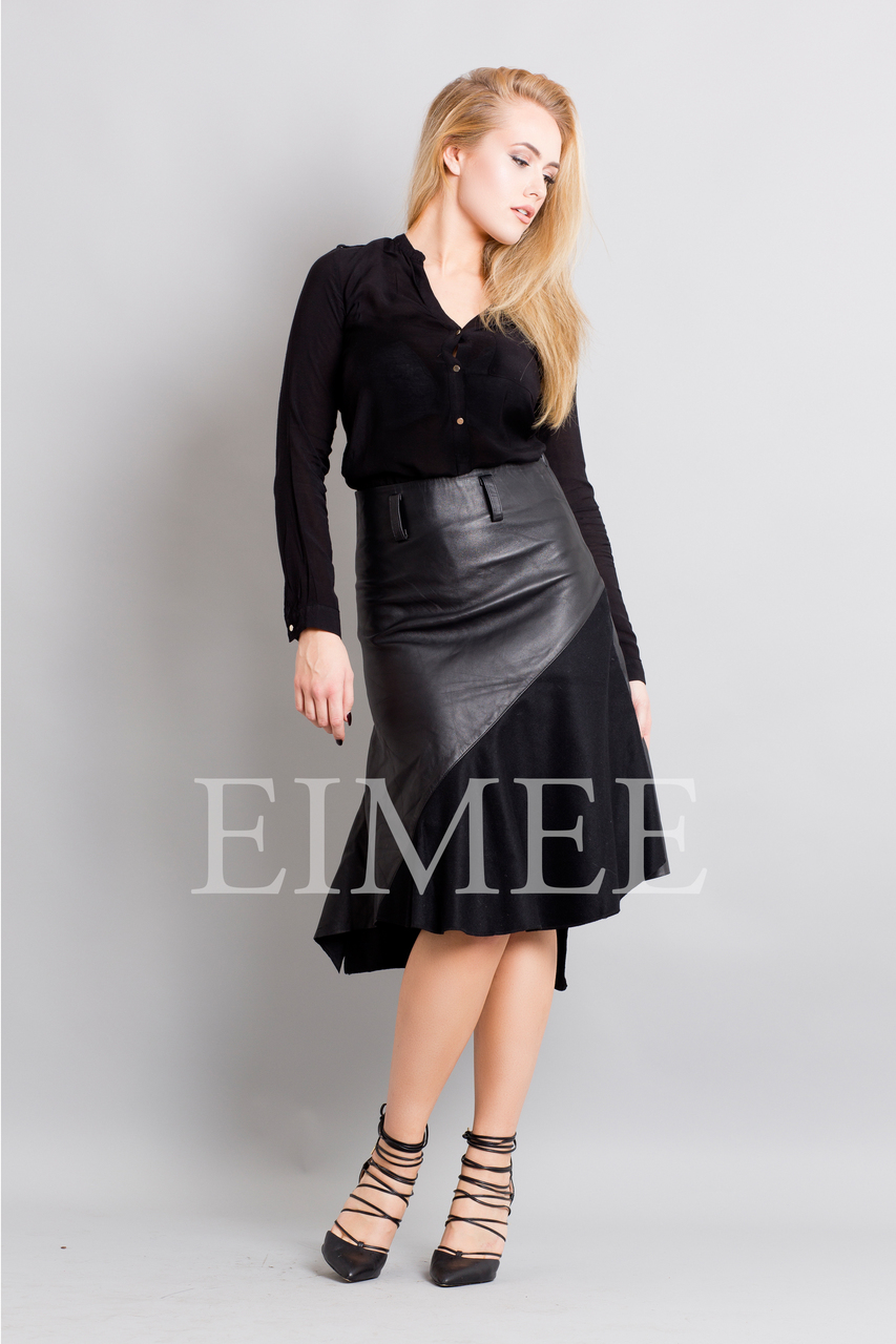 Gorgeous Real Leather Skirt With Wool Panels LEENI front image 3