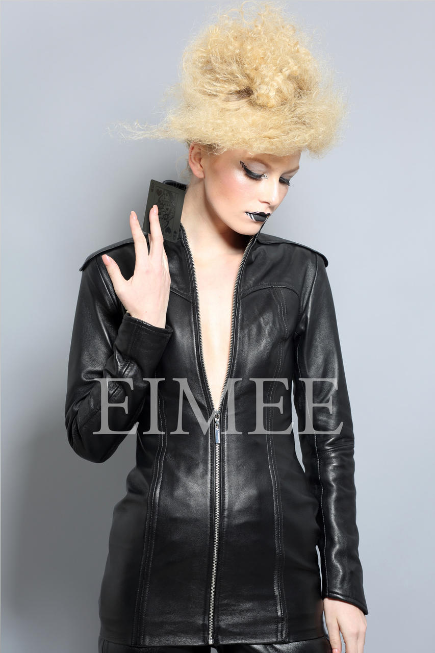 Lavish Black Leather Mini Dress Top Jacket SHIYI front detail