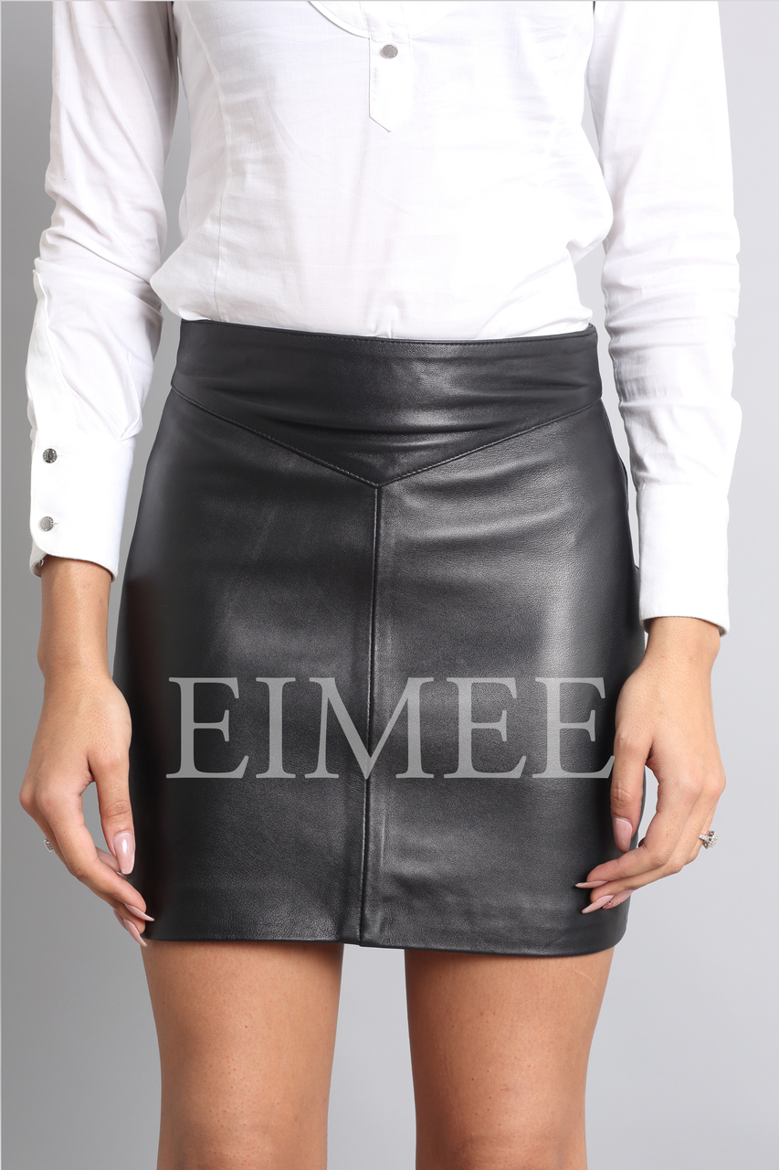 Leather Skirt Classic Design Side Zip Mini Skirt SOPHIA front view