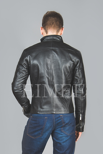 Men's Leather Jacket tight fit MOTO back