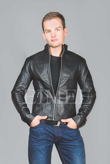 Men's Leather Jacket tight fit MOTO front detail