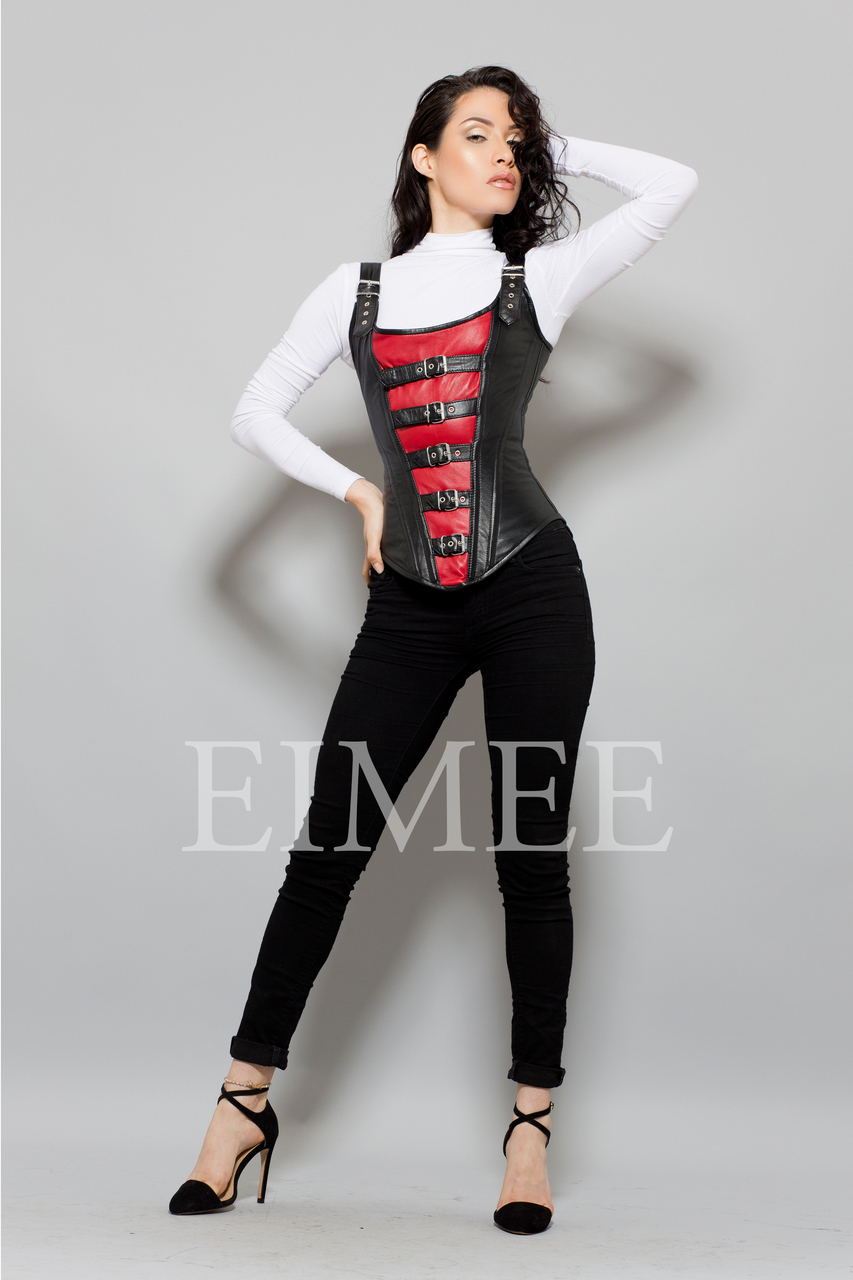 Red Black Leather Corset Danita front