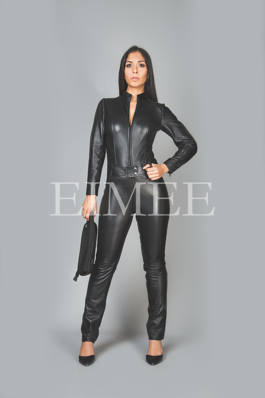 Black Leather Playsuit Jumpsuit PAULETTA front view
