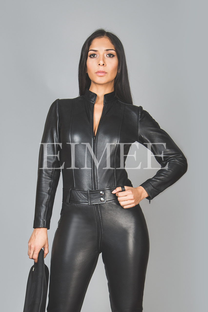 Black Leather Playsuit Jumpsuit PAULETTA front view 2