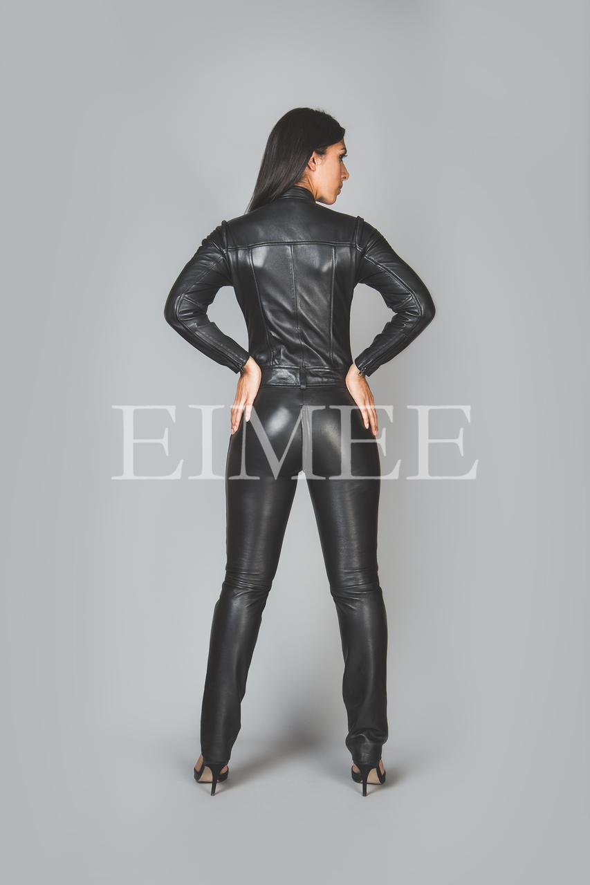 Black Leather Playsuit Jumpsuit PAULETTA back view
