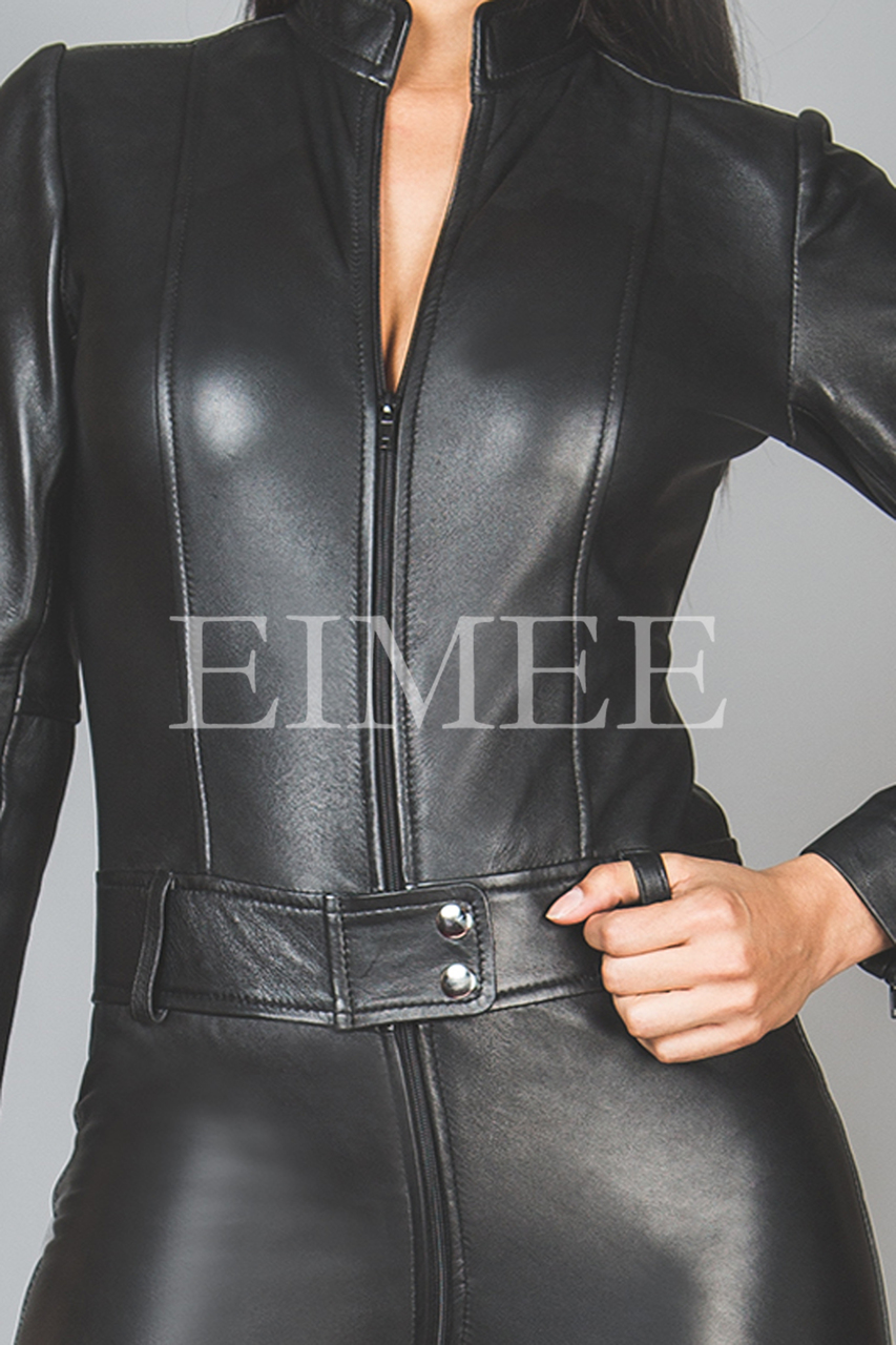 Black Leather Playsuit Jumpsuit PAULETTA front view details