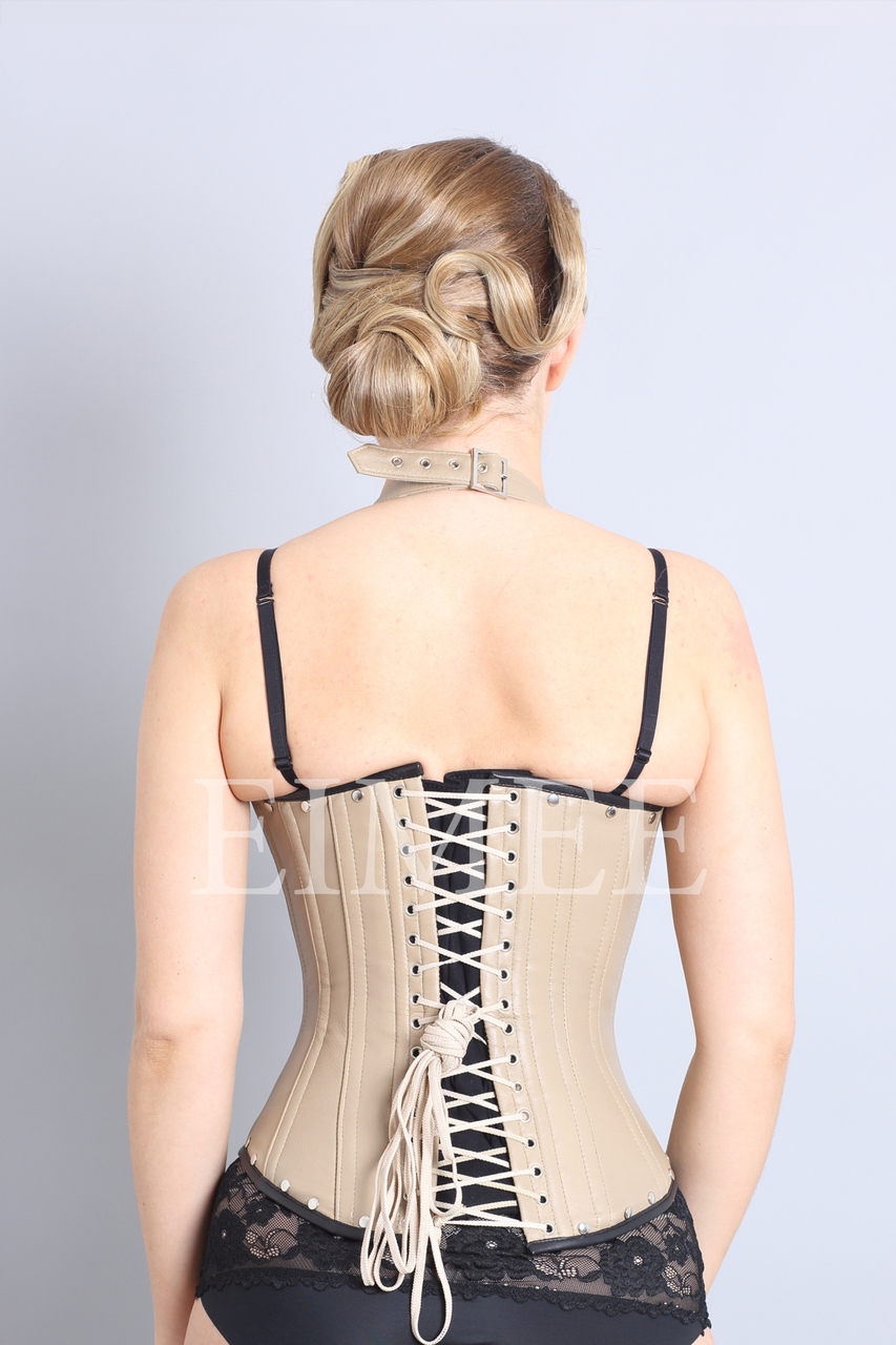 Tan Leather Under bust Corset Steampunk UNIS back