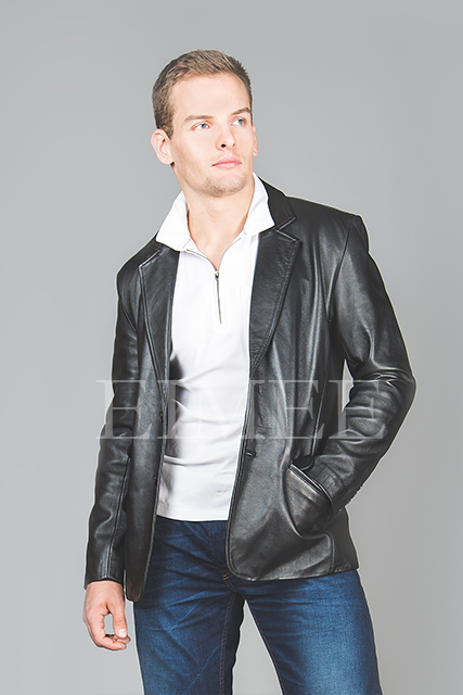 Men's Soft Leather Blazer SERJEY front zoom view