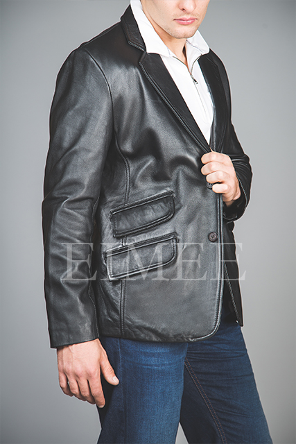 Men's Soft Leather Blazer SERJEY side view
