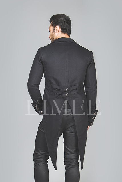 Mens Black Tailcoat Gothic Steampunk Jacket AABI  image 3