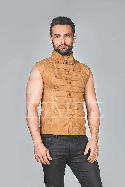Mens Steampunk Military Waistcoat Vest SANDRO image 2