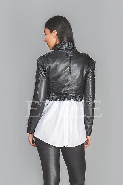 Ladies Soft Leather Waistcoat Steampunk Bolero Ruffled SAMERO  image 3