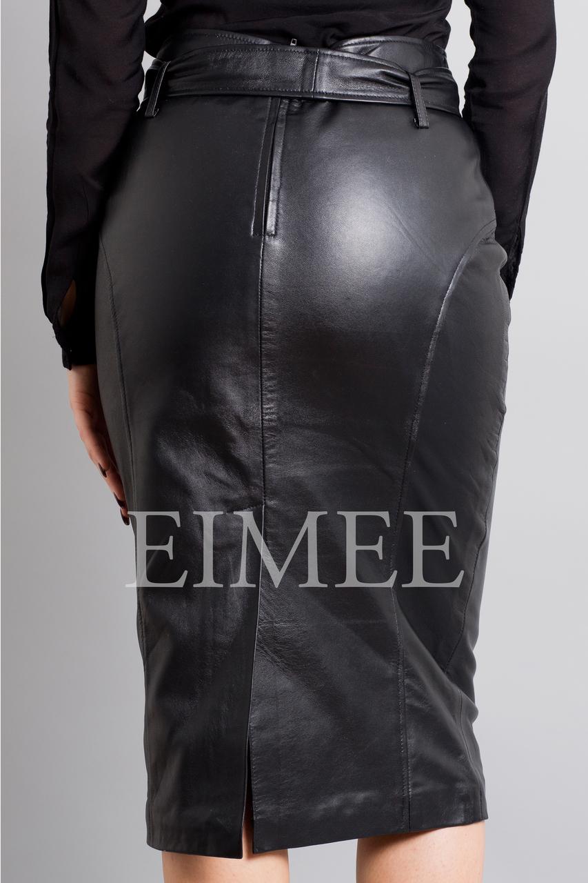 Leather Elegant Pencil Long Skirt High Waisted RAHET back detail