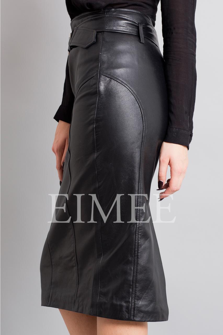 Leather Elegant Pencil Long Skirt High Waisted RAHET side