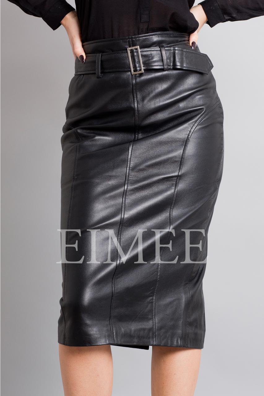 Leather Elegant Pencil Long Skirt High Waisted RAHET front detail