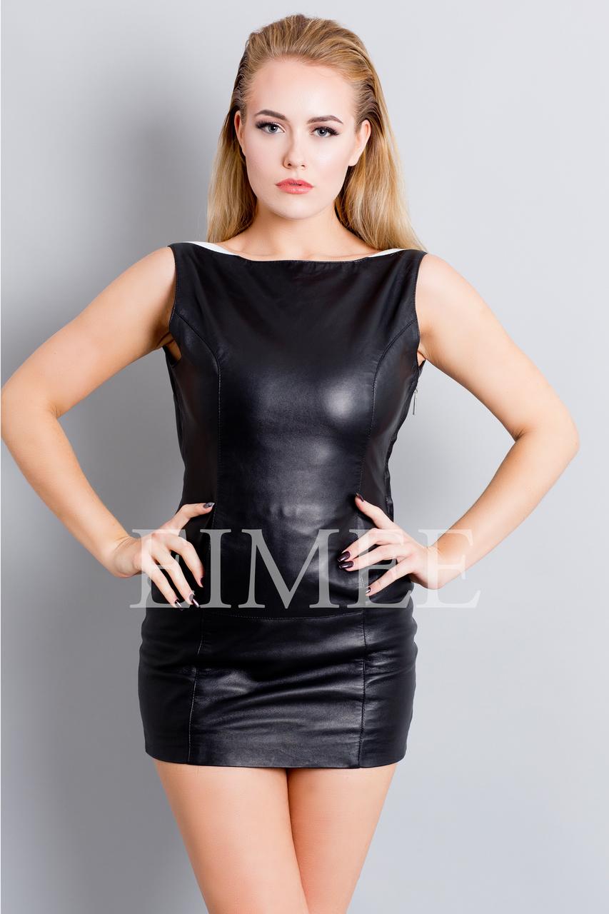 Elegant Leather Dress Sleeveless Light Top LEMA front