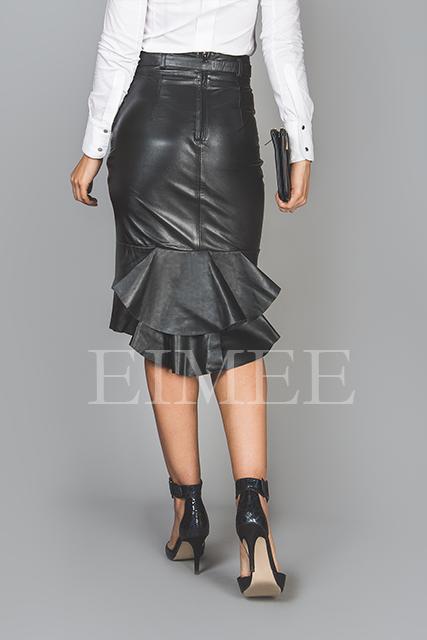 Leather Skirt Elegant Fishtail Vintage Style SHANEEZ back