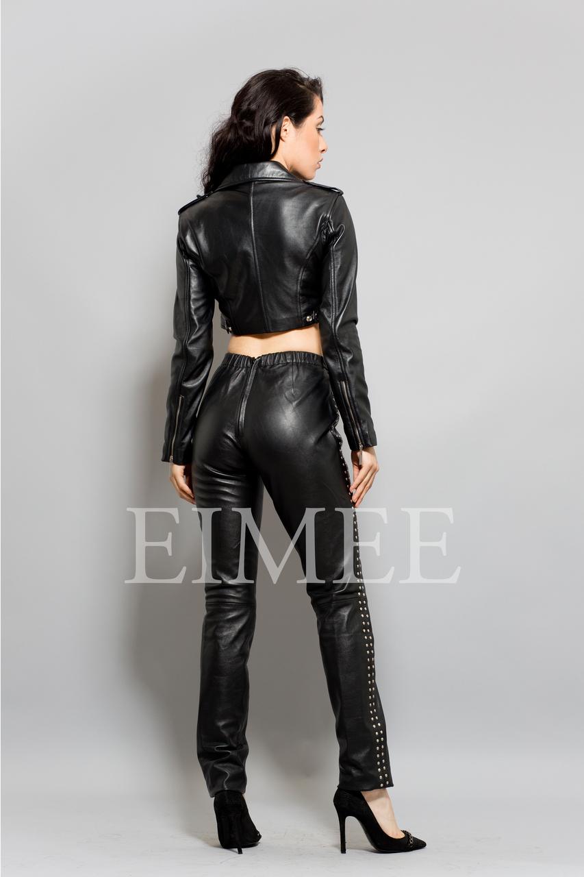 Ladies Leather High Waisted Short Jacket ZUNA back