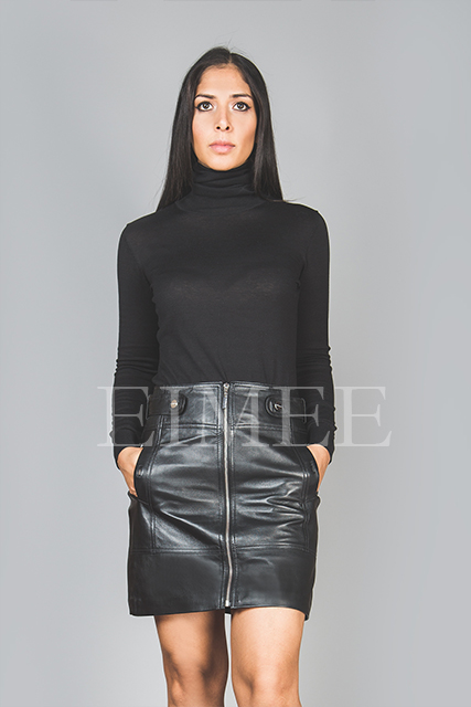 Full Grain Leather Skirt With Belt GABBY  front detail