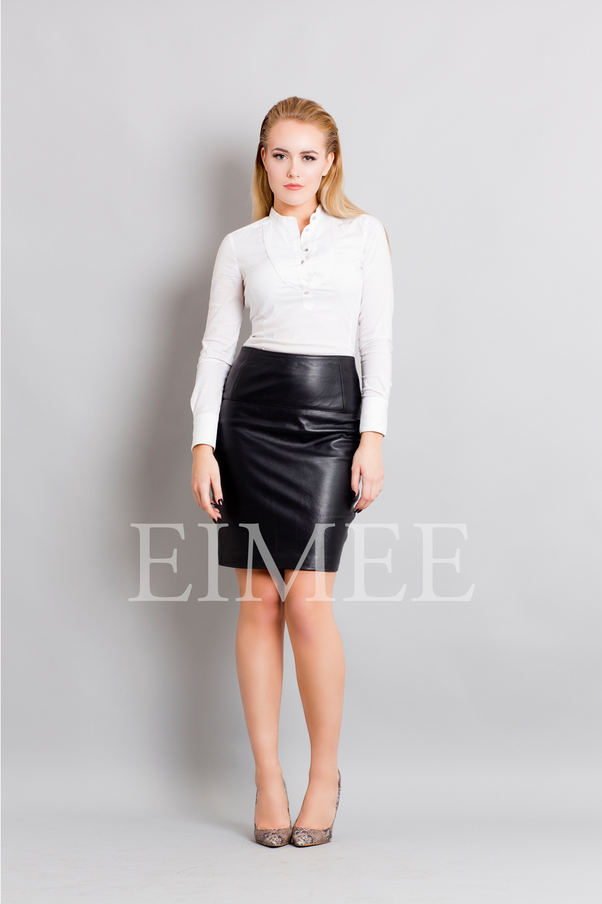 Full Grain Leather Sheath Office Skirt CHANI  front